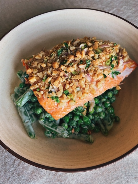 Walnut Crusted Salmon with Green Bean and Pea Salad
