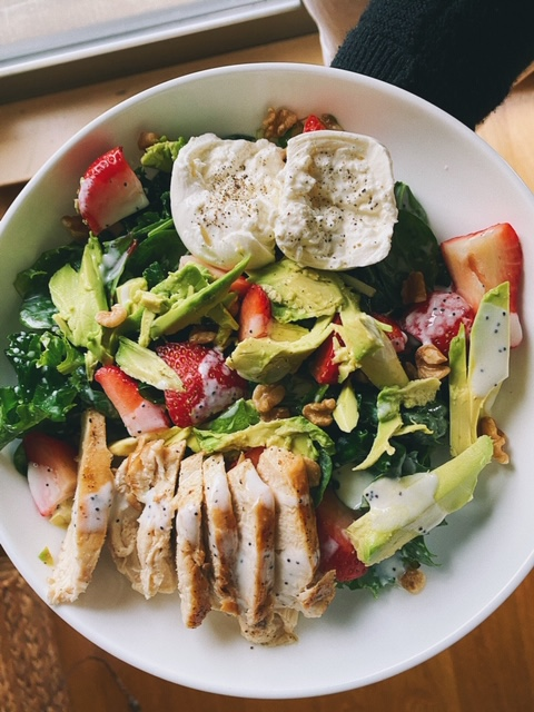 Strawberry Poppyseed Salad with Chicken and Burrata