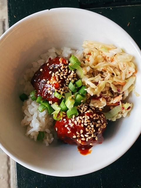 Korean Meatballs with Sesame Ginger Slaw