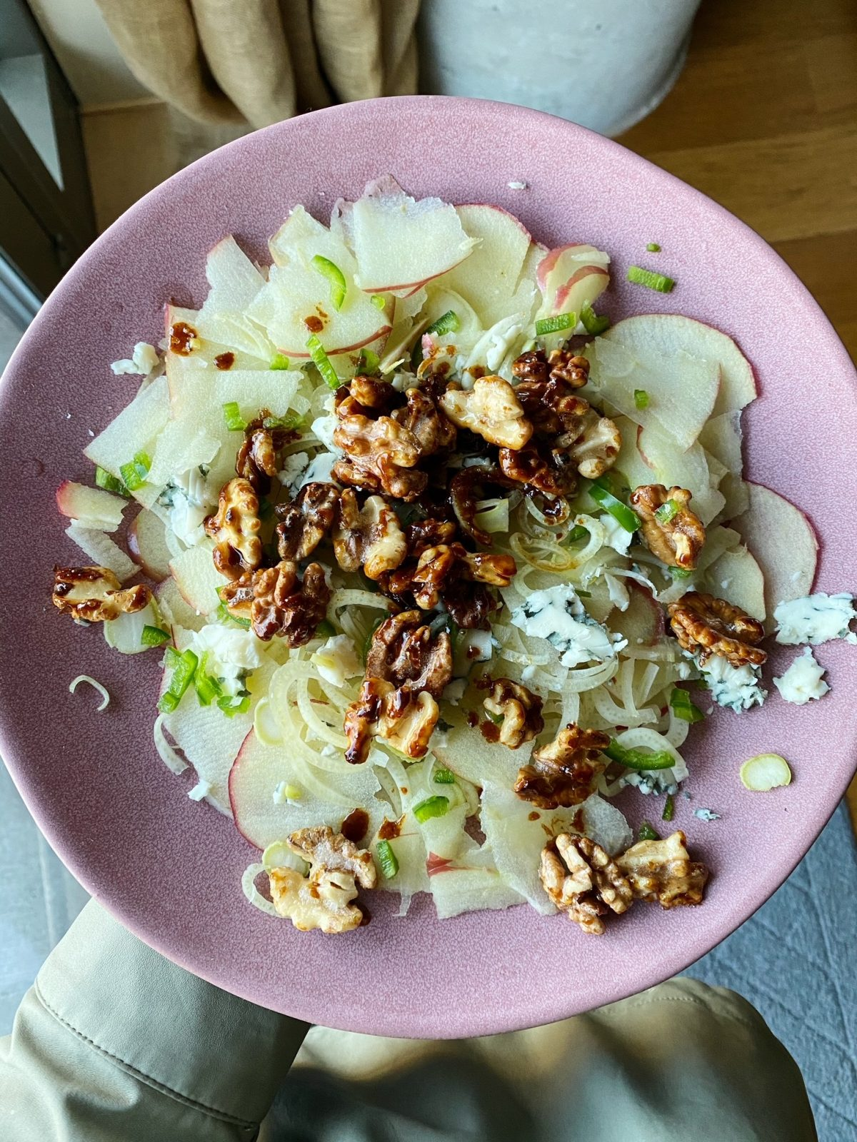 Shaved Apple and Fennel Salad with Candied Walnuts