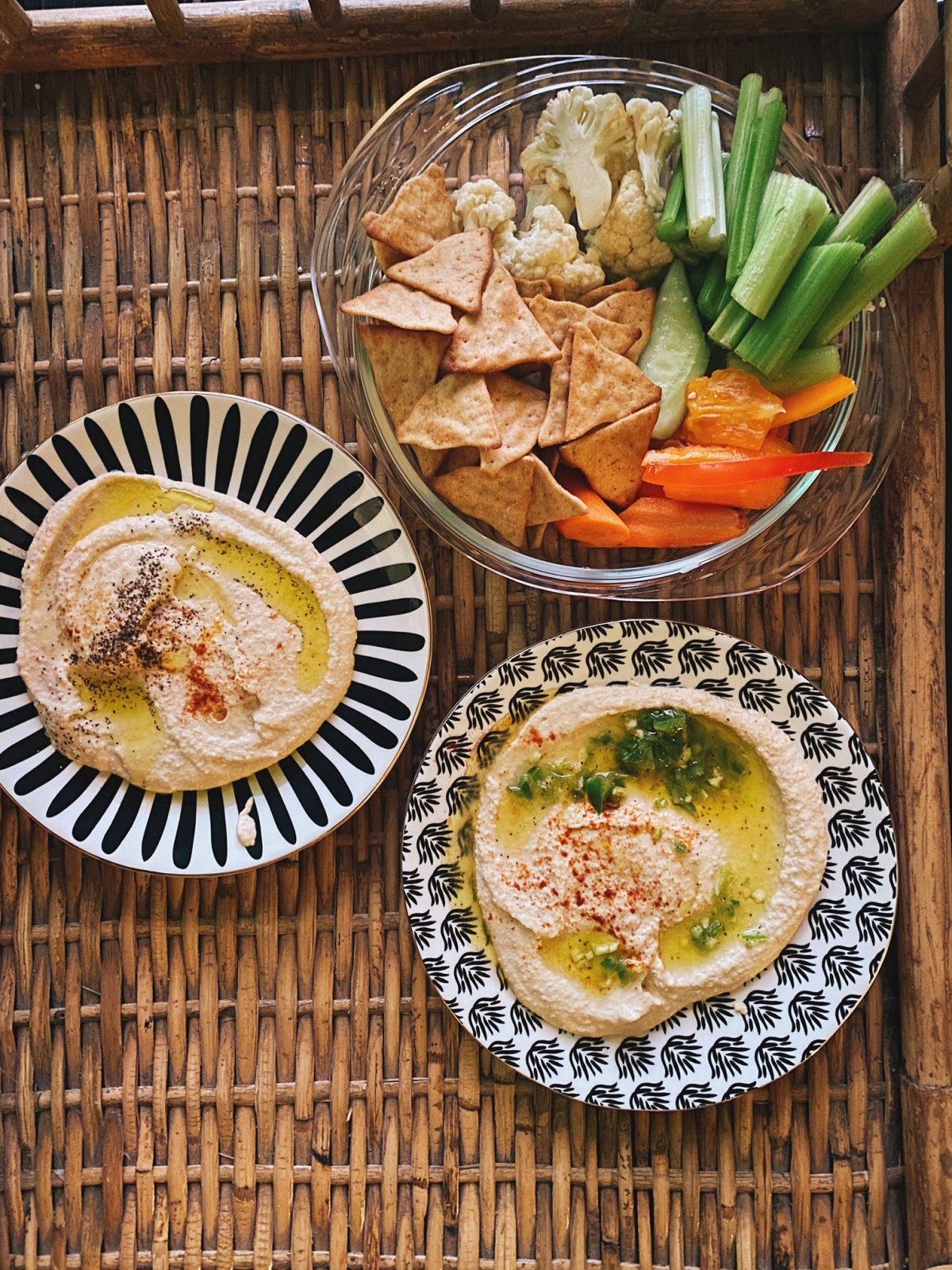 Creamy Tahini Hummus with Jalapeño Vinaigrette