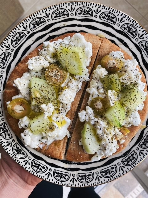 Toasted Pita with Cottage Cheese, Cucumber, and Olive